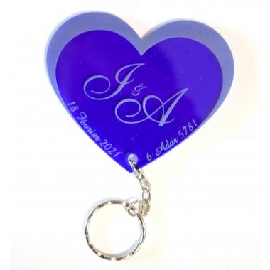 Porte-clés Coeur plexi  personnalisable mariage /...