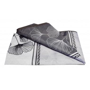 Nappe de Chabbat blanche/noire motif floral